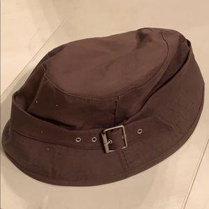 Brown rain hat
